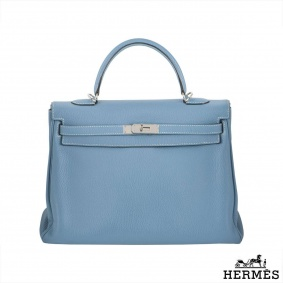 Hermes Kelly 35cm Blue Jean Clemence Leather Bag